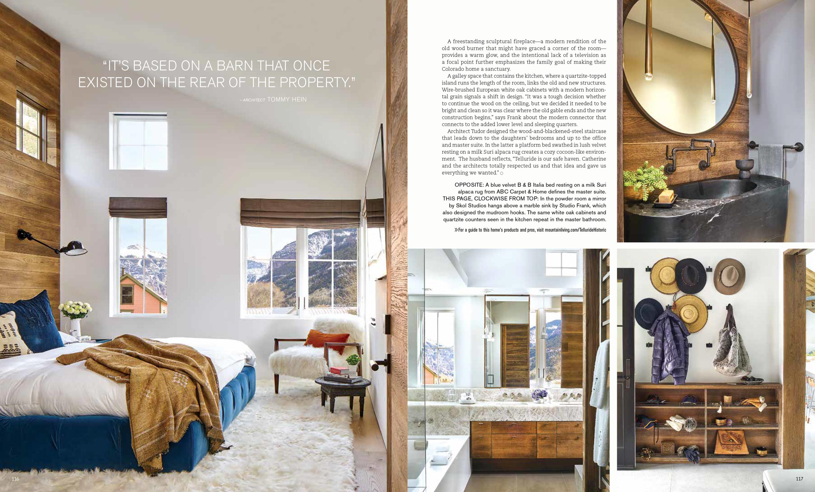 Mountain Living Magazine David Patterson Photography of Interior Design Architecture  Telluride  Colorado