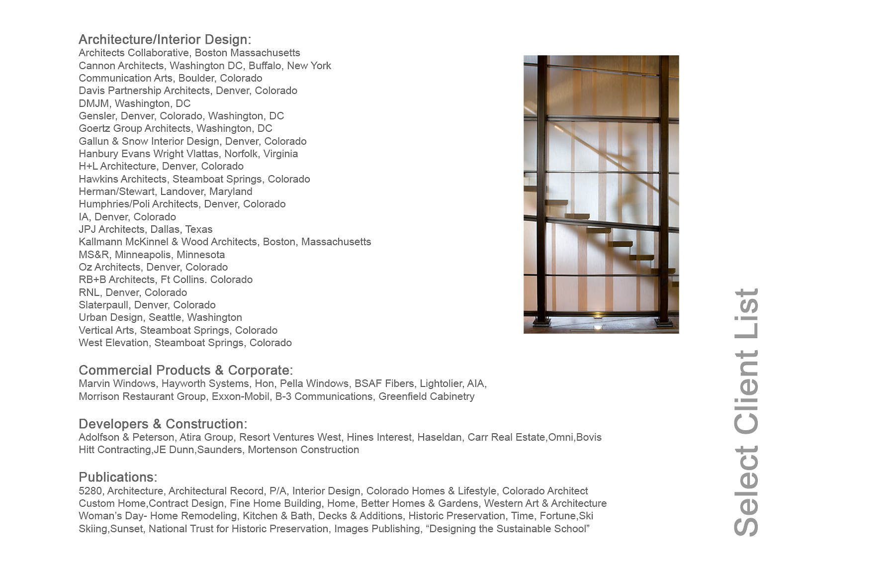 Client List, David Patterson Photography/Architectural Photography Colorado